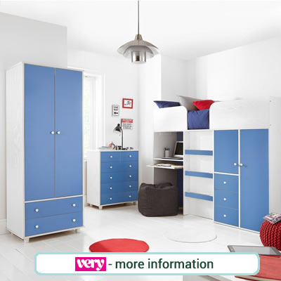 Blue and white wardrobe, large chest and high sleeper bed.