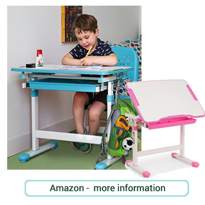 Child's small versatile desk with matching chair in blue or pink with white.