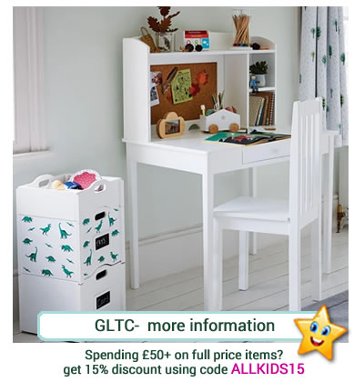 from GLTC, white Whittington Desk with hutch - corkboard, 3 shelves and one drawer.