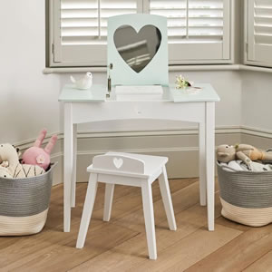 Girls white, aqua or pink dressing table and stool.