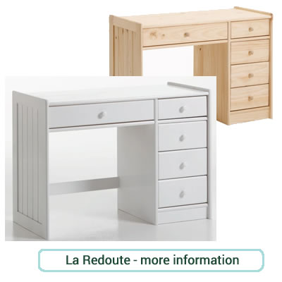 Solid pine desk in white or natural with 5 drawers.