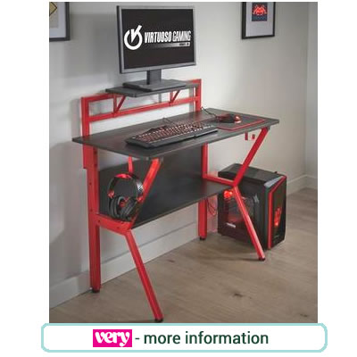 Red and black gaming desk, with monitor shelf, and hooks for controllers and head phones.
