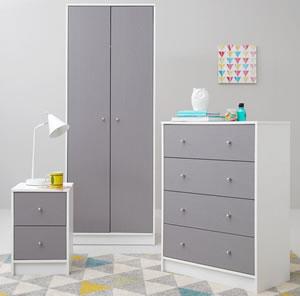 Grey and white double wardrobe, 4 drawer chest and 2 drawer bedside cabinet.