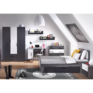 Grey and white 6 piece bedroom set - wardrobe, bed, chest, desk, bedside cabinet and shelf.