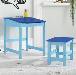 Blue, child's tradtional desk and stool
