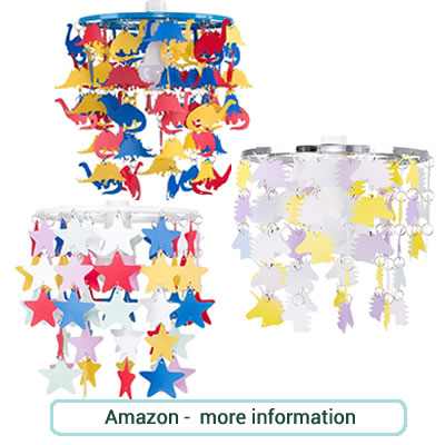 A choice of 3,  kids chandelier type ceiling lights. Multicolured dinosaurs, stars or pastel coloured unicorns.