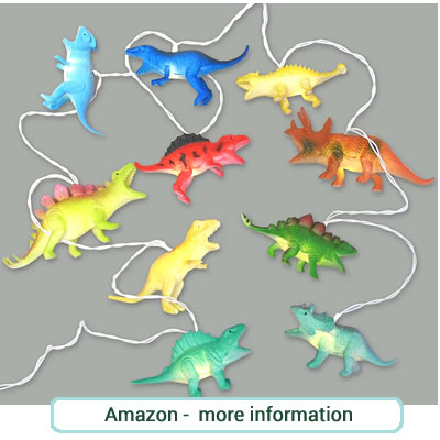 Dinosaur string lights. Figures of 10 different dinosaures in bright colours. Battery powered.