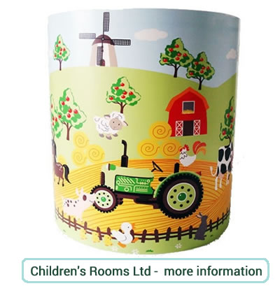 Kids farm themed ceiling shade with tractor, windmill, farmhouse and farm animals.