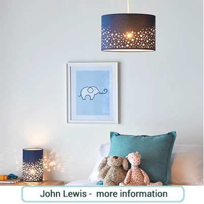 Dark blue ceiling shade and lamp with a star cutout design.