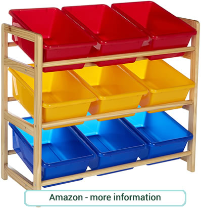 Colourful and handy 3 tier, wooden frame storage unit with 9 plastic toy tubs. 3 each of red, blue and yellow.