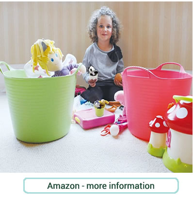 Large, green and pink, strong plastic storage tubs. Great for toys, laundry or in the garden - tubtrugs