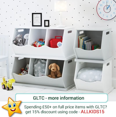 Sturdy and strong, stacking toy boxes in white or grey. Single, doulbe or triple .