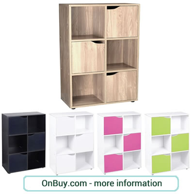 6 cube storage unit in Oak, Black or White with 3 attached doors and 3 open units.
