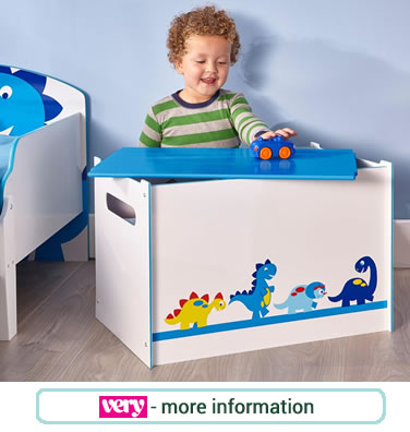 Dinosaur themed toy box. Blue and white with removable lid. 4 images of cheeky dinosaurs on the front.