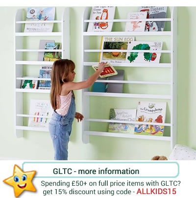 Wall mounted bookcases from GLTC. In two sizes with space for larger books on the bottom row.