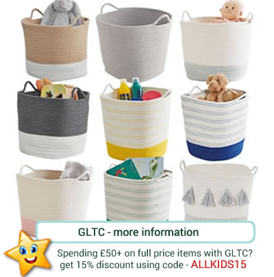 A selection of rope baskets from GLTC, which fit snugle into their  cube storage units.