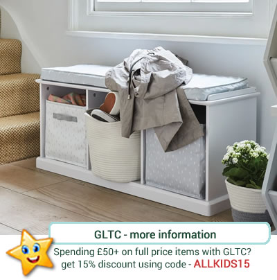 pale grey storge bench, with padded seat and 3 storage tubs