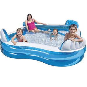 Large, blue and white, family paddling pool with 4 seats.