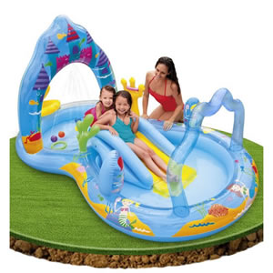 Mermaid themed splash pool with slide.