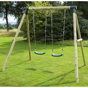 Double wooden swing set with 2 swings.