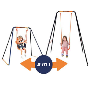 Two in One swing with an orange and black frame.