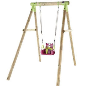 Wooden, 3 in 1 garden swing with baby, toddler and child sized seats.