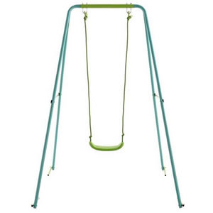 Kids single blue metal swing for the garden.