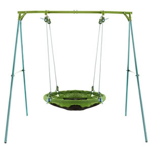 Children's green saucer shaped swing on a metal frame.