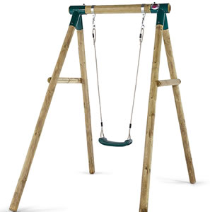 Strong wooden, single swing with ropes and moulded seat.