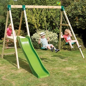 Wooden, garden play set includes 2 swings and a slide.