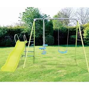 Garden swing set with a swing, glider and wavy slide.