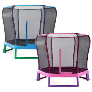 Pink or blue, 7 ft wide junior trampolines with full enclosures.