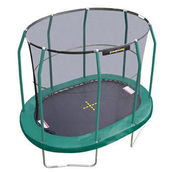 Oval trampoline with safety netting, ladder and tie down kit
