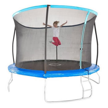 10ft wide, small garden trampoline with surround netting and ladder.