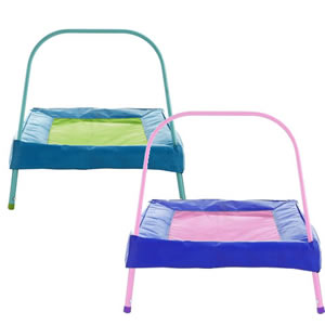 Small junior tramoline with bouncing mat and grab handle. Pink or Blue
