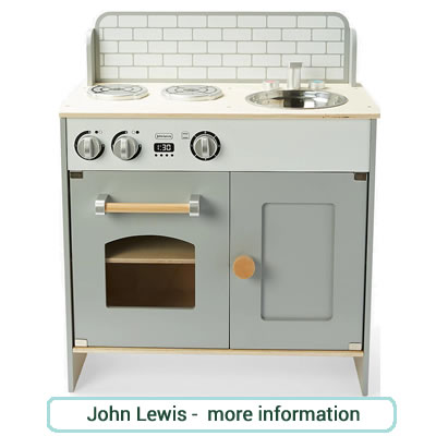 Compact grey and white, wooden play kitchen from John Lewis. 2 hobs, sink,oven and cupboard.