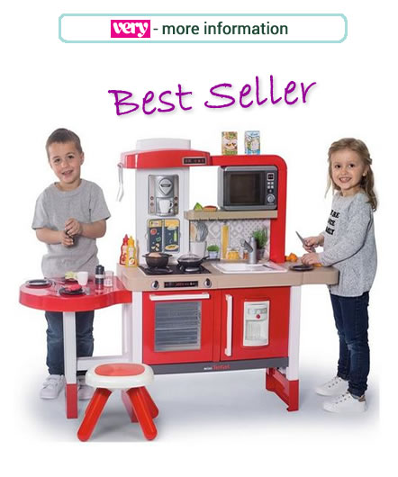 Red and white Gourmet Kitchen from Smoby. Toddler sized kitchen and diner and includes 43 accessories.