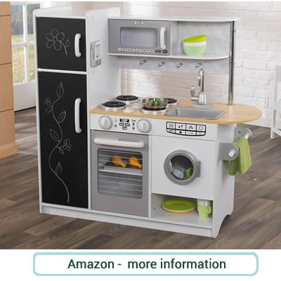 Wooden playkitchen, with chalkboard doors to fridge/freezer unit, oven, washing machine, sink, microwave and hob. Grey and white.