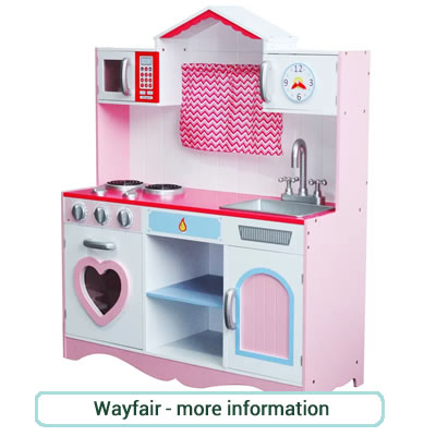 Pretty pink and pale blue, wooden play kitchen with heart shaped doors.