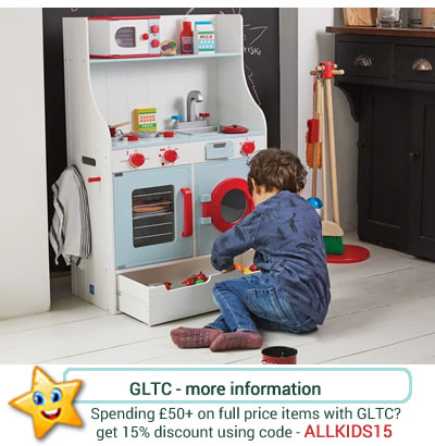 Wooden blue and white play kitchen from GLTC. With sink, microwave, oven, washing machine and storag