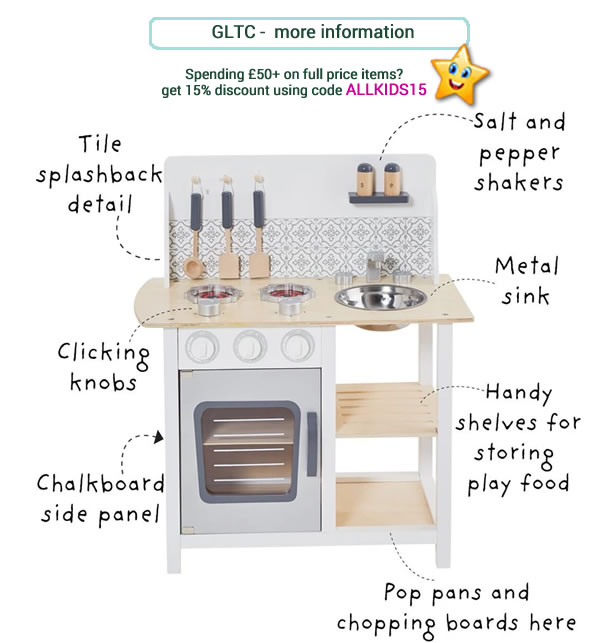 Small and compact toy kitchen in grey and white. Includes pepper and salt pots and utensils.