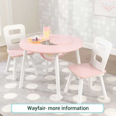 Peppa Pig themed toddler sized square table and two chairs.