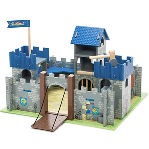 Boys, wooden castle with drawbridge, winch and prison cell.