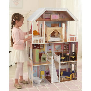 Large 5ft Dolls House and 14 furniture pieces. For 12 inch dolls.