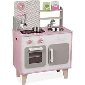 Small compact retro play kitchen - pink and grey.
