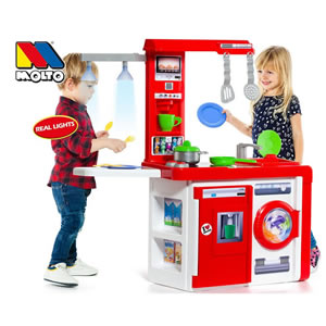 A red plastic play kitchen for under £40 includes utensils, real lights and a coffee machine.