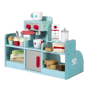 Blue and white coffee station play set.