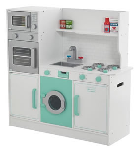 Large, wooden peppermint green and white, child's play kitchen.