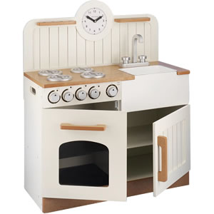 Cream wooden play kitchen with sink, hob, oven and large cupboard and clock.